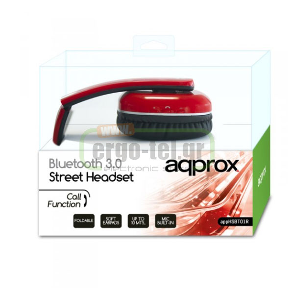BLUETOOTH ΑΚΟΥΣΤΙΚΑ HEADPHONES DJ STREET 32Ohms 115dB ΚΟΚΚΙΝΑ APPHSBT01R