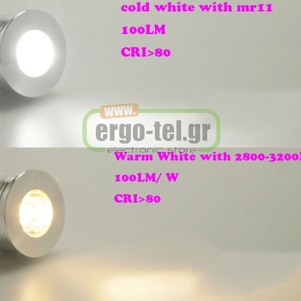 ����� led ������ Ø35mm MR11 2W 12V AC/DC 6400k ����� ����� ��� ������ 38� 110 lumen