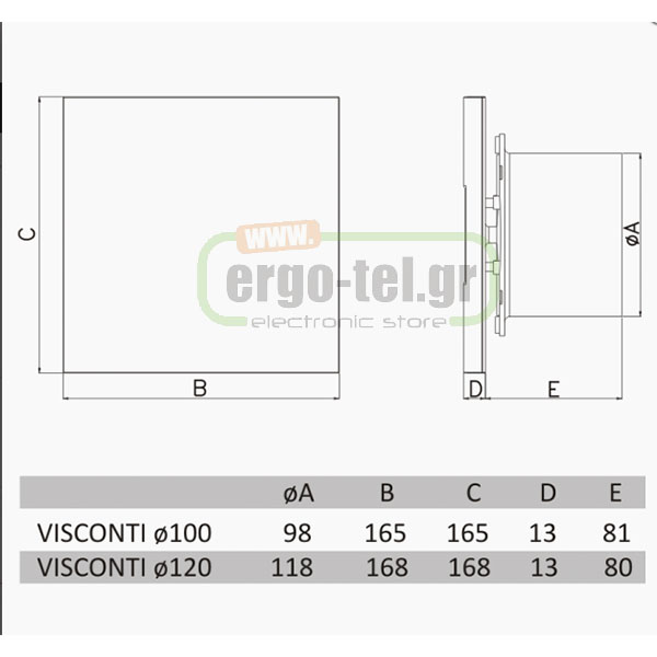 ������������ ������� VISCONTI ������ �������� ����������� 46dB �120 17W  2650rpm 150m�/h
