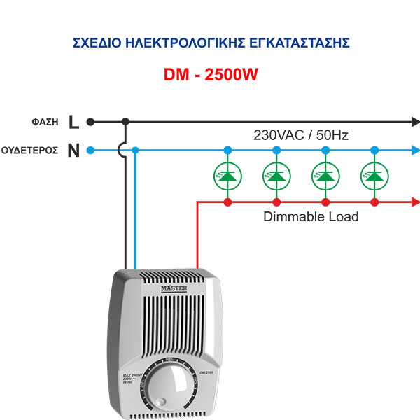 Dimmer professional DM-2500W (ροοστάτης) MASTER DM-2500 WHITE