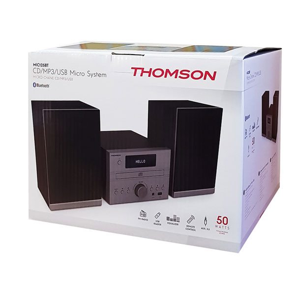 Ηχοσύστημα THOMSON HI-FI System MIC125BT bluetooth FM/CD/MP3/USB 50W σε μαύρο χρώμα