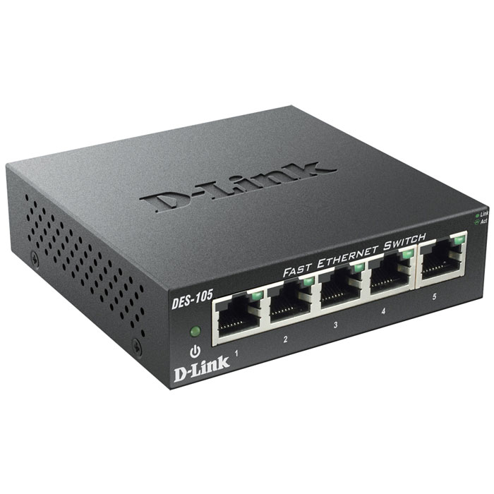 Μεταγωγέας δικτύου D-LINK DES-105 5-Port Fast Ethernet Unmanaged Desktop Switch