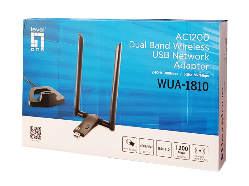 Wireless USB Network Adapter LEVELONE WUA-1810E AC1200 Dual Band ver. 1